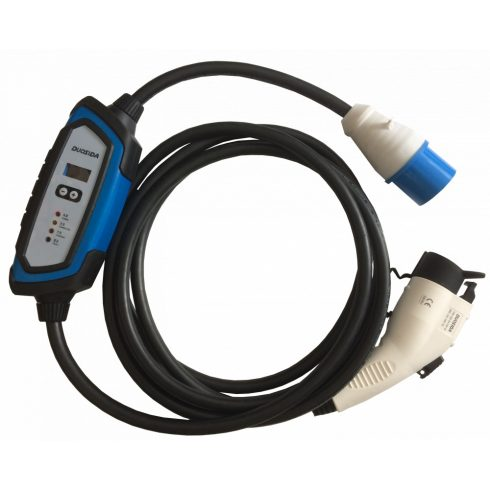 electric car charging cable - Type 1 and 1-phase industrial connector 32A + EVSE, 5 m cable, DUOSIDA