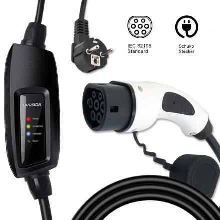 elektromos autó hordozható töltő - Type 2 +EVSE, 1×16 A, 5 m, DUOSIDA