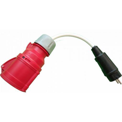 elektromos autó töltőkábel - csatlakozó adapter, ipari aljzat 3×16A - shucko dugó 1×16A