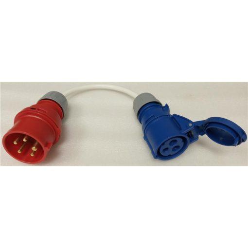 elektromos autó töltőkábel - csatlakozó adapter, ipari aljzat 1×16A - ipari dugó 3×16A