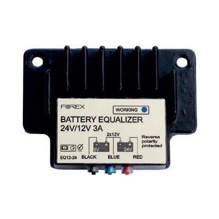 töltéskiegyenlítő, aktív, 2 akkumulátorhoz, 2×12 V, 2×1.5 A kiegyenlítő áram